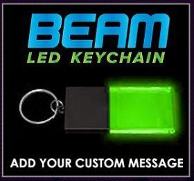 Black / Green - Beam LED Custom Light Up Acrylic Key Chains
